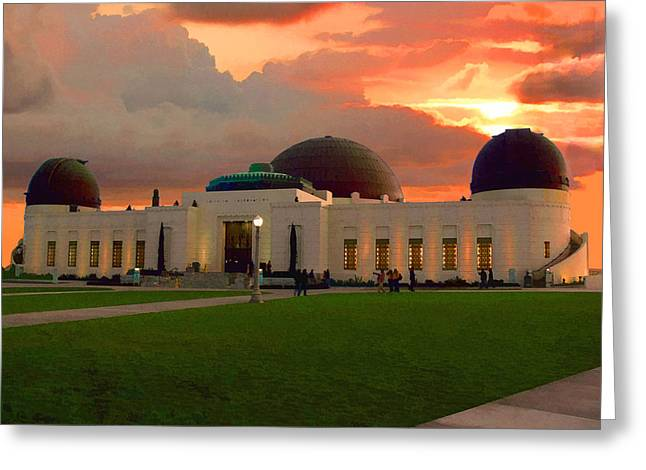 Greeting Card featuring the digital art Griffith Park Observatory by Timothy Bulone
