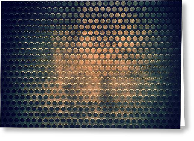 Grill Metal Hole On Grunge Texture Background Greeting Card by Natthawat Jamnapa
