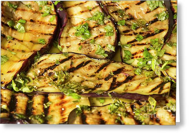 Grilled Eggplant With Dressing Greeting Card by Patricia Hofmeester