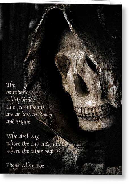 Grim Reaper And Edgar Allan Poe Greeting Card