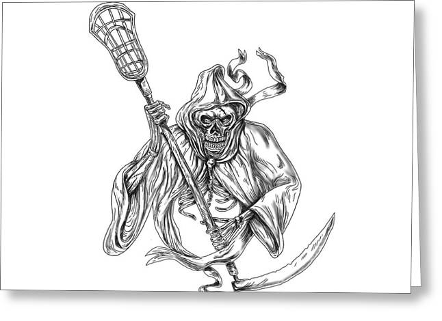 Grim Reaper Lacrosse Defense Pole Tattoo Greeting Card by Aloysius Patrimonio