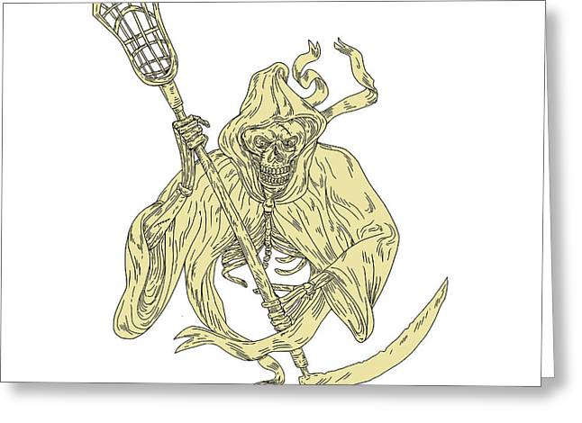 Grim Reaper Lacrosse Stick Drawing Greeting Card by Aloysius Patrimonio