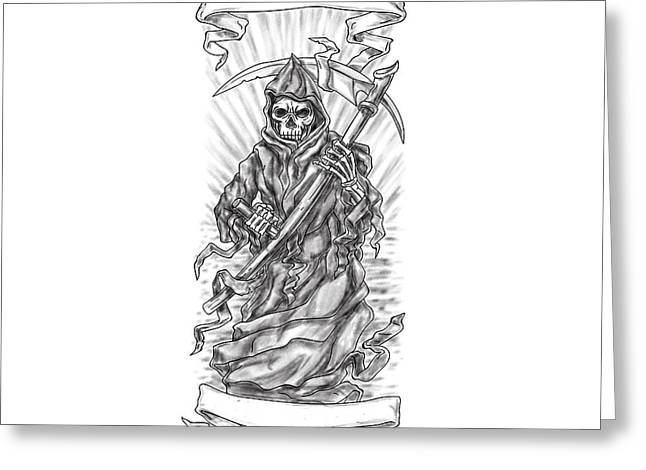 Grim Reaper Scythe Ribbon Tattoo Greeting Card by Aloysius Patrimonio