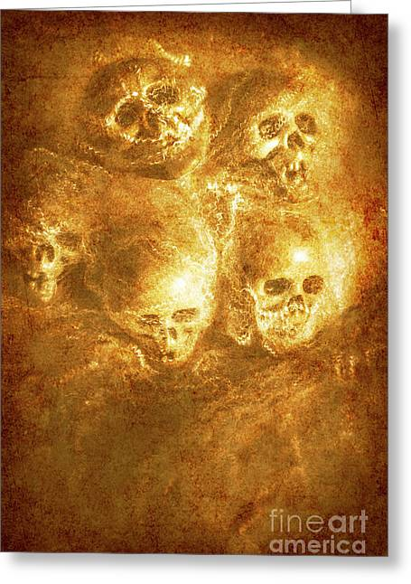 Grim Tales Of Burning Skulls Greeting Card by Jorgo Photography - Wall Art Gallery