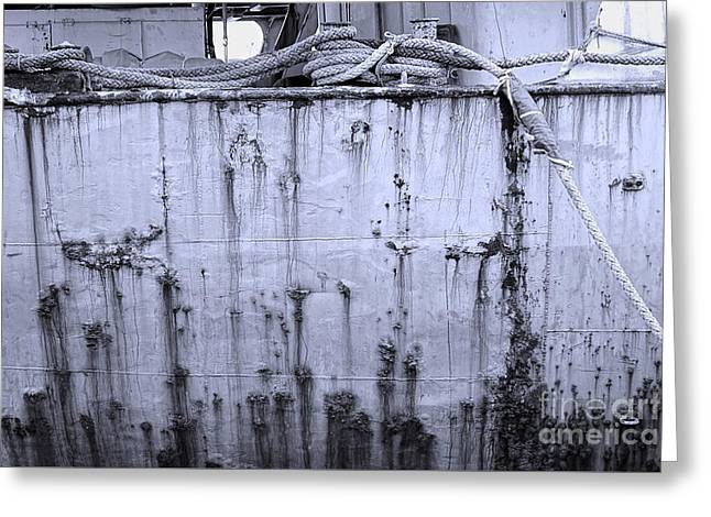 Greeting Card featuring the photograph Grimy Old Ship Hull by Yali Shi