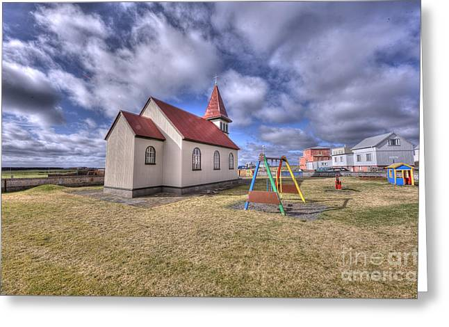 Grindavik Church Iceland Enhancer Greeting Card