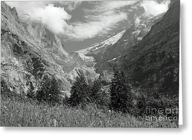 Grindelwald Glacier In Switzerland In Black And White Greeting Card
