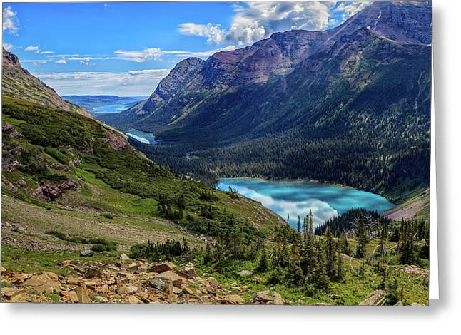 Grinell Hike In Glacier National Park Greeting Card by Andres Leon