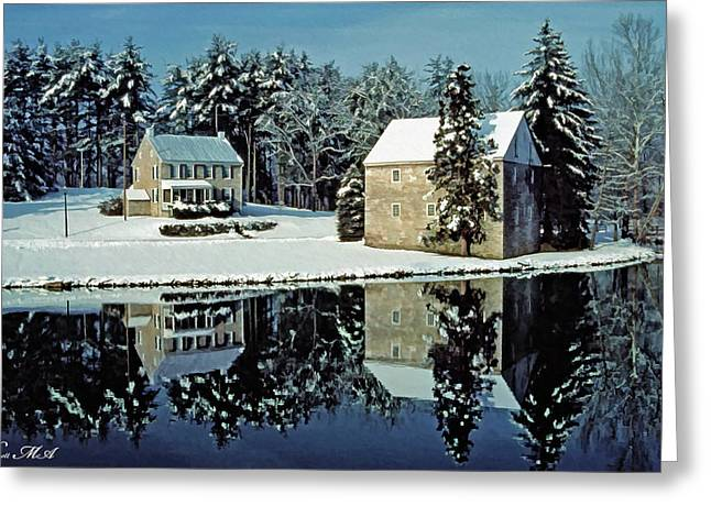 Grings Mill Snow 001 Greeting Card by Scott McAllister