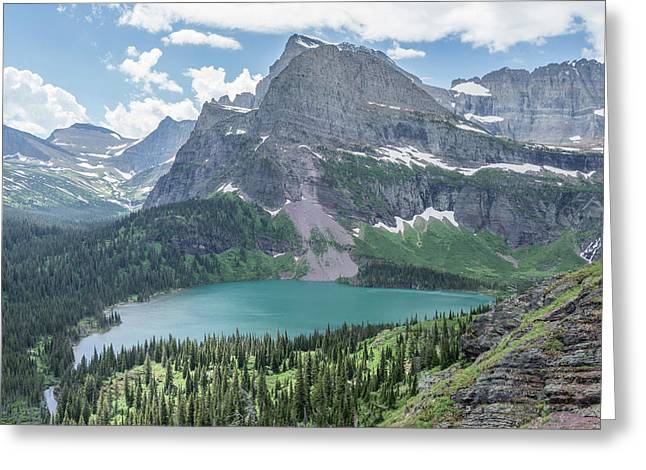 Grinnell Lake From Afar Greeting Card by Alpha Wanderlust