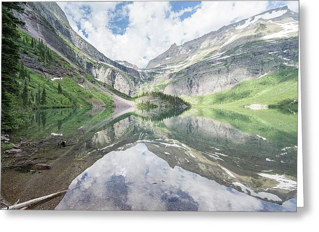Grinnell Lake Mirrored Greeting Card by Alpha Wanderlust