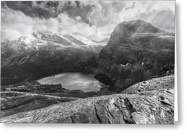 Grinnell Lake Overlook Black And White Greeting Card by Mark Kiver