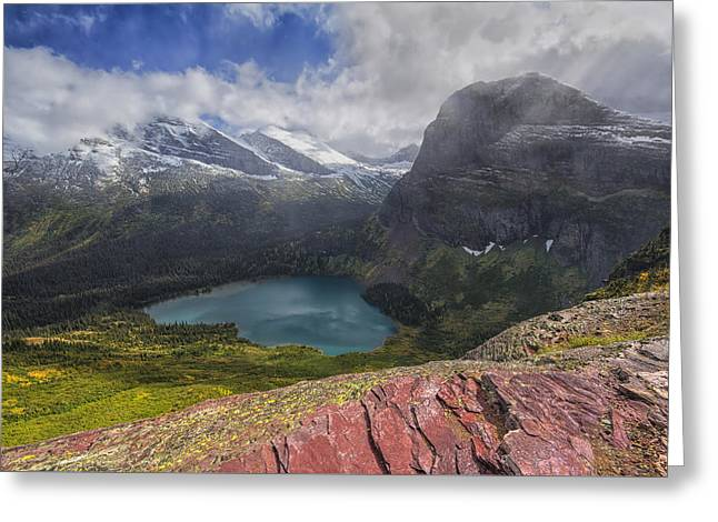 Grinnell Lake Overlook Greeting Card by Mark Kiver