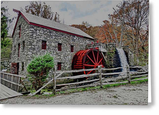 Grist Mill In Fall Greeting Card by Bill Dussault