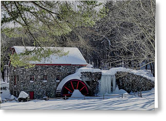 Grist Mill In Winter Greeting Card by Bill Dussault