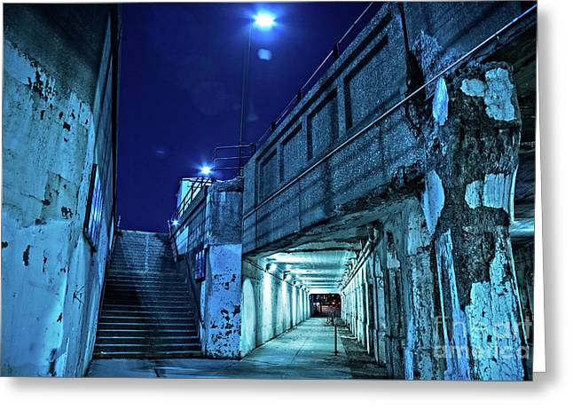 Gritty Dark Chicago City Street Under Industrial Bridge Viaduct At Night Greeting Card