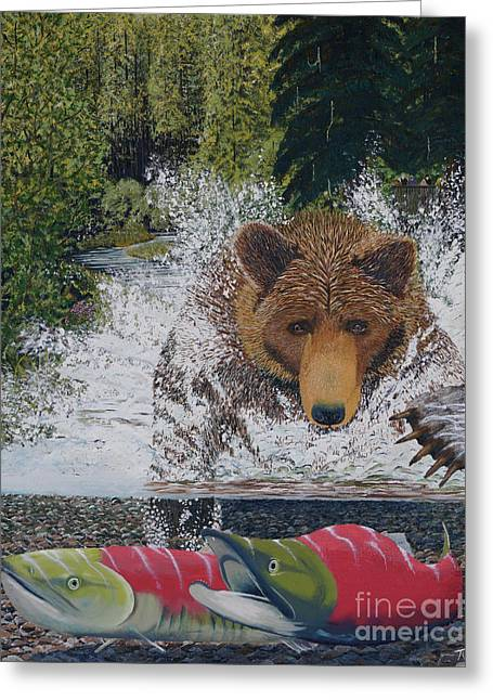 Grizzly Chase Greeting Card by Stanza Widen