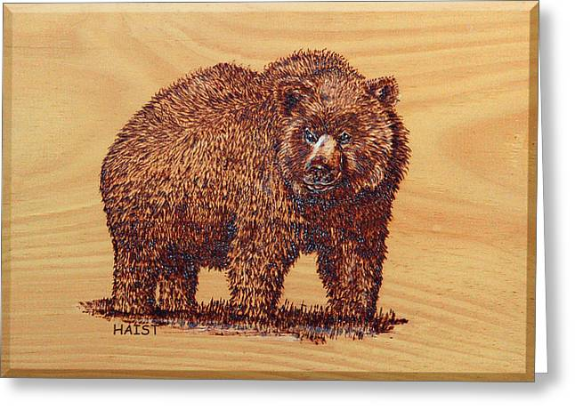 Greeting Card featuring the pyrography Grizzly 3 by Ron Haist