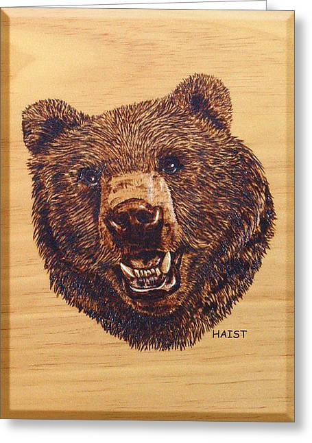 Greeting Card featuring the pyrography Grizzly 5 by Ron Haist