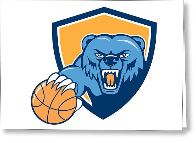 Grizzly Bear Angry Head Basketball Shield Cartoon Greeting Card by Aloysius Patrimonio
