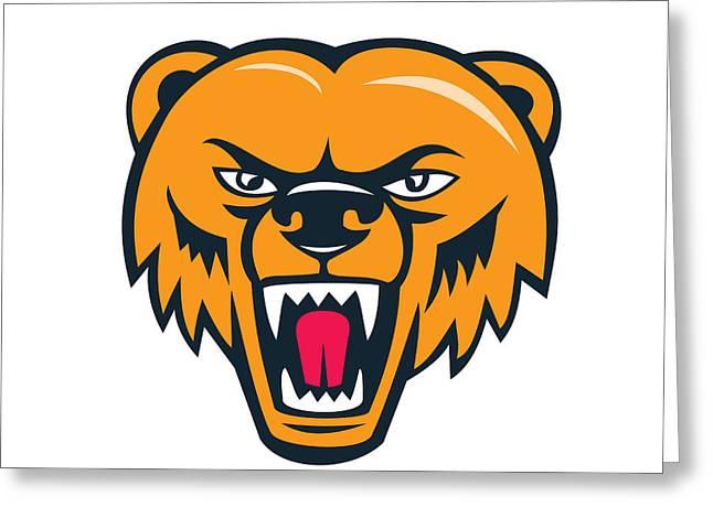 Grizzly Bear Angry Head Cartoon Greeting Card by Aloysius Patrimonio