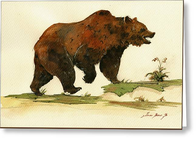 Grizzly Bear Art Greeting Card by Juan  Bosco