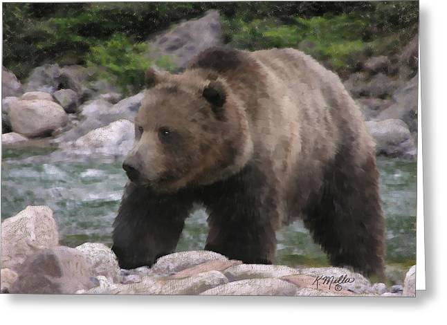 Grizzly Bear Greeting Card by Kathie Miller