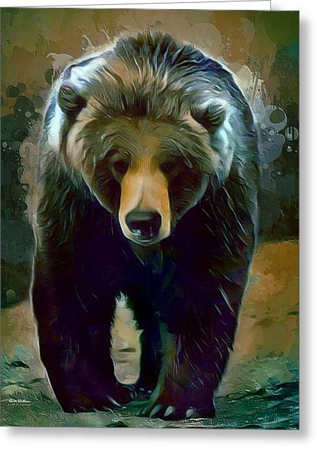 Grizzly Bear Strolls Painting  Greeting Card by Scott Wallace