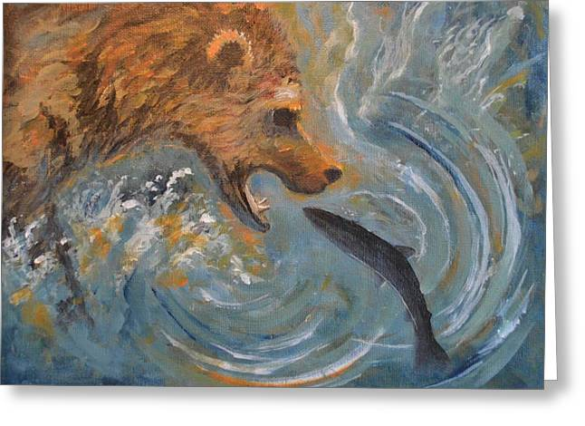Grizzly Bear Trout Greeting Card