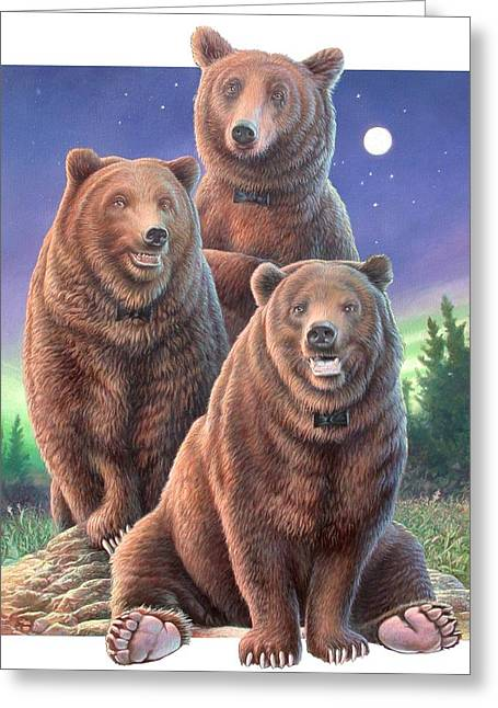 Grizzly Bears In Starry Night Greeting Card