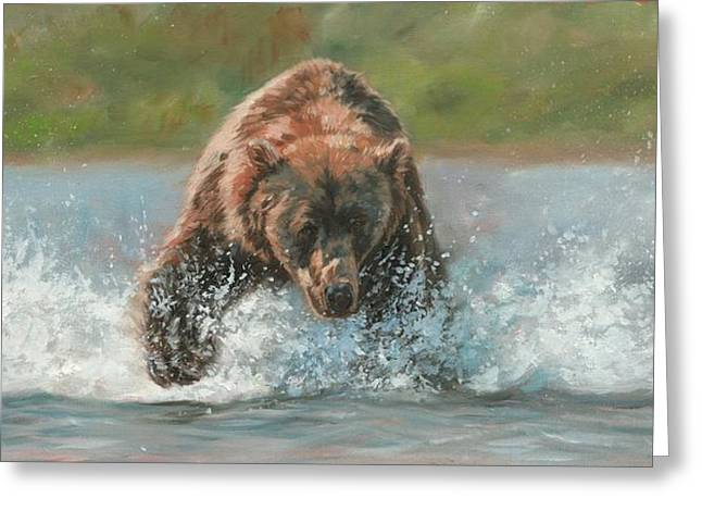 Grizzly Charge Greeting Card by David Stribbling