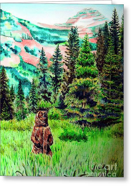 Grizzly Country Greeting Card by Tracy Rose Moyers