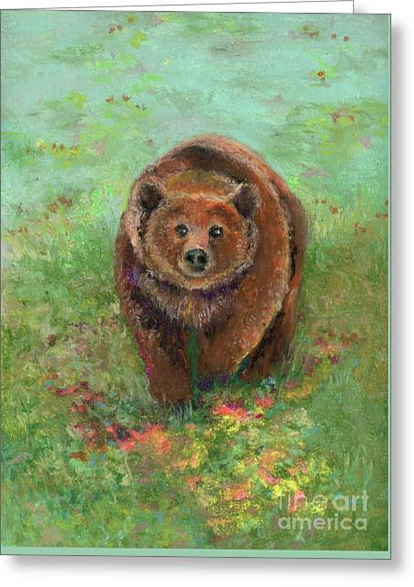 Grizzly In The Meadow Greeting Card