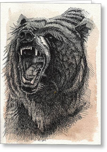 Grizzly Greeting Card by Nathan Rhoads