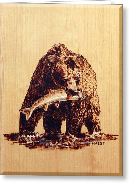Greeting Card featuring the pyrography Grizzly by Ron Haist