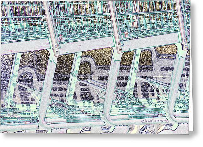 Greeting Card featuring the digital art Grocery Carts 2 by Kae Cheatham
