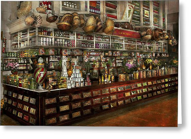 Grocery - Edward Neumann - The Groceries 1905 Greeting Card by Mike Savad