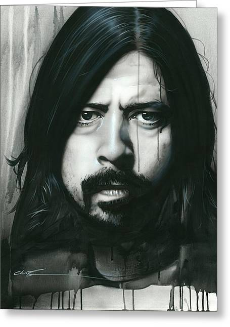Dave Grohl - ' Grohl In Black ' Greeting Card by Christian Chapman Art