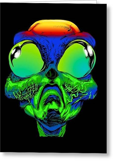 Groovy Alien Greeting Card by Ray Amante