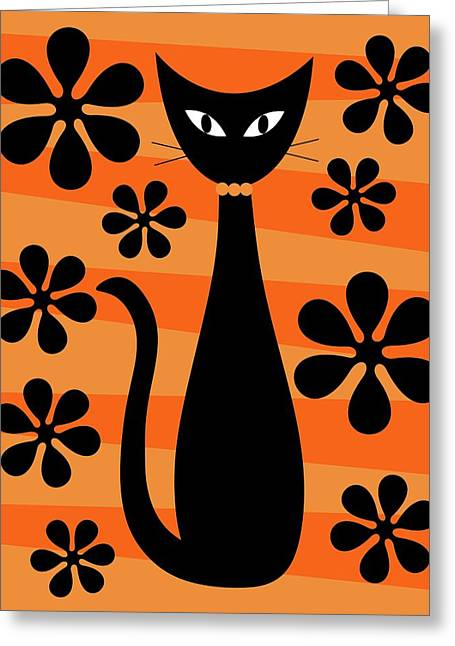 Groovy Flowers With Cat Orange And Light Orange Greeting Card