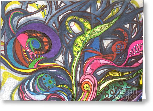 Greeting Card featuring the painting Groovy Series by Chrisann Ellis