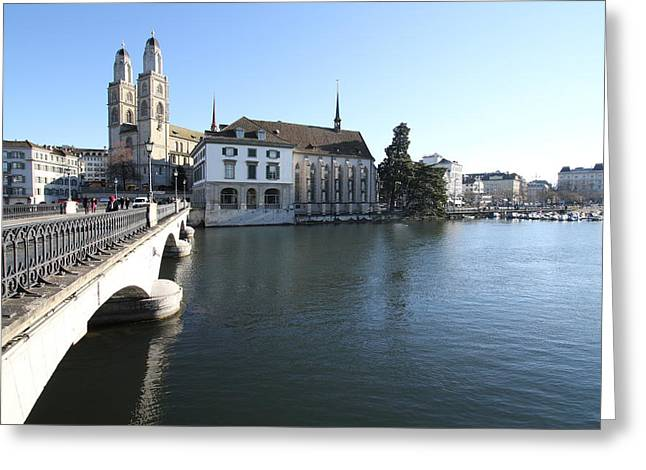 Grossmunster, Wasserkirche And Munsterbrucke - Zurich Greeting Card