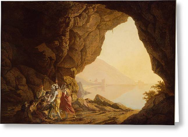Grotto By The Seaside In The Kingdom Of Naples With Banditti, Sunset  Greeting Card by Joseph Wright
