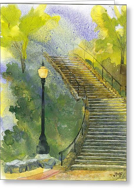 Grotto Stairs Greeting Card by John Meng-Frecker