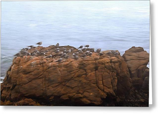 Grounded Due To Fog Cambria California Painting Greeting Card by Barbra Snyder