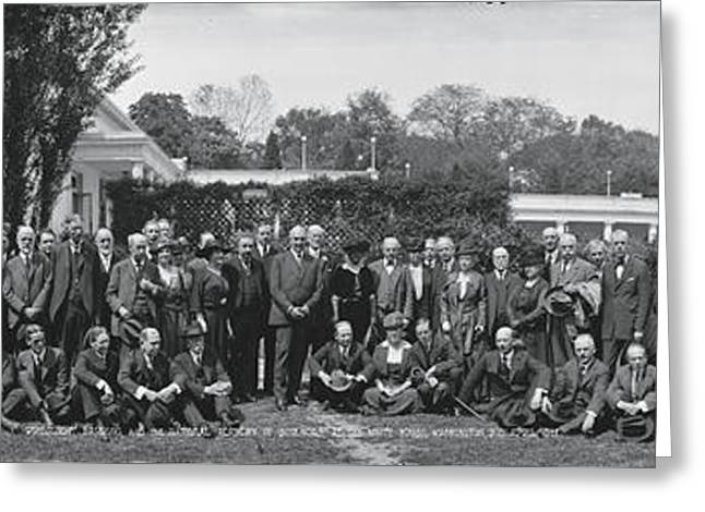 Group Including Einstein And Harding 1921 Washington Dc Greeting Card by Panoramic Images