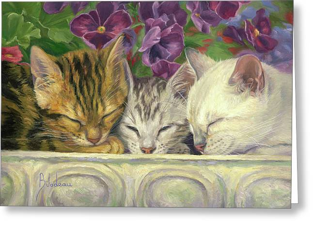 Group Nap Greeting Card by Lucie Bilodeau