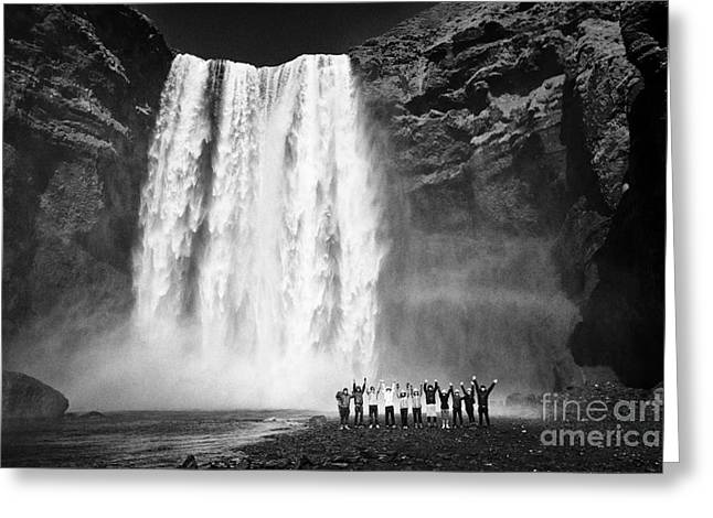 Group Of Asian Tourists At Skogafoss Waterfall In Iceland Greeting Card by Joe Fox