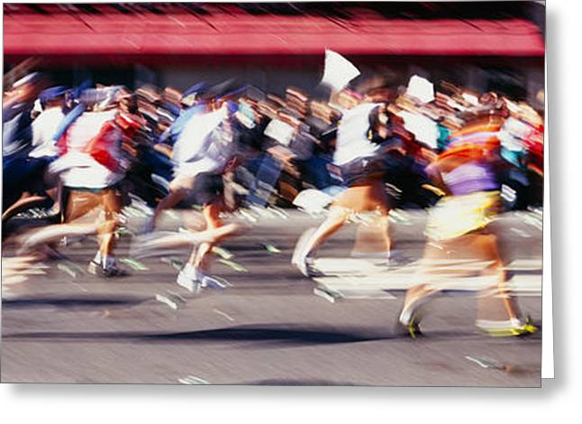 Group Of People Running, Marathon, New Greeting Card
