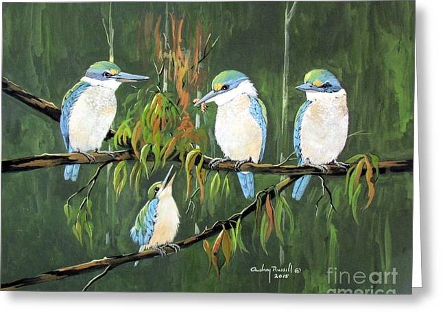 Group Of Sacred Kingfishers Greeting Card